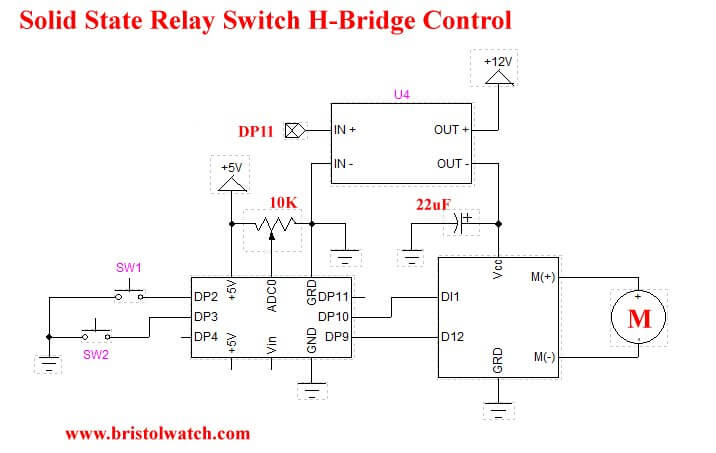 Arduino uses solid state relay power control for H-bridge.