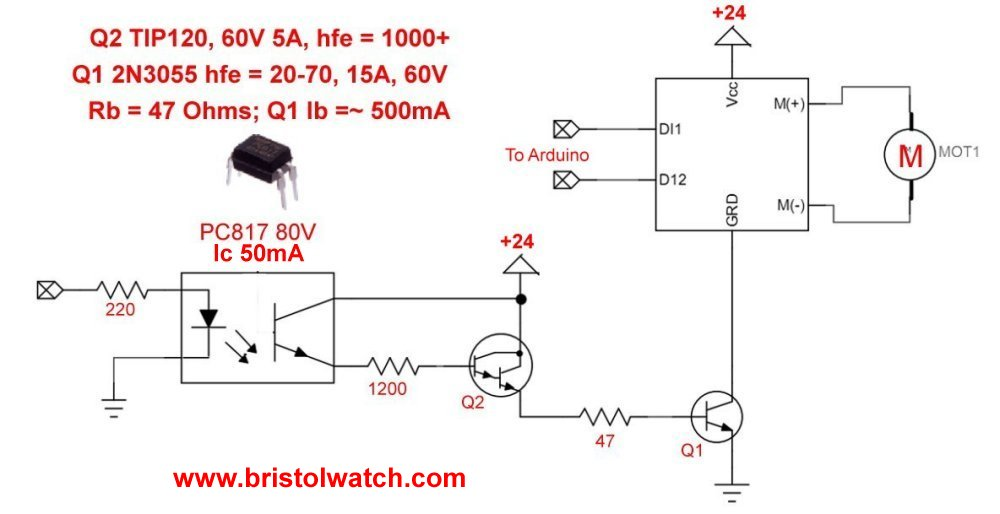 2N3055 power switch controls H-bridge in ground circuit.
