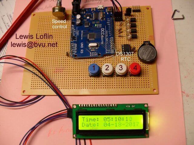 Arduino controller board with real time clock DS1307.