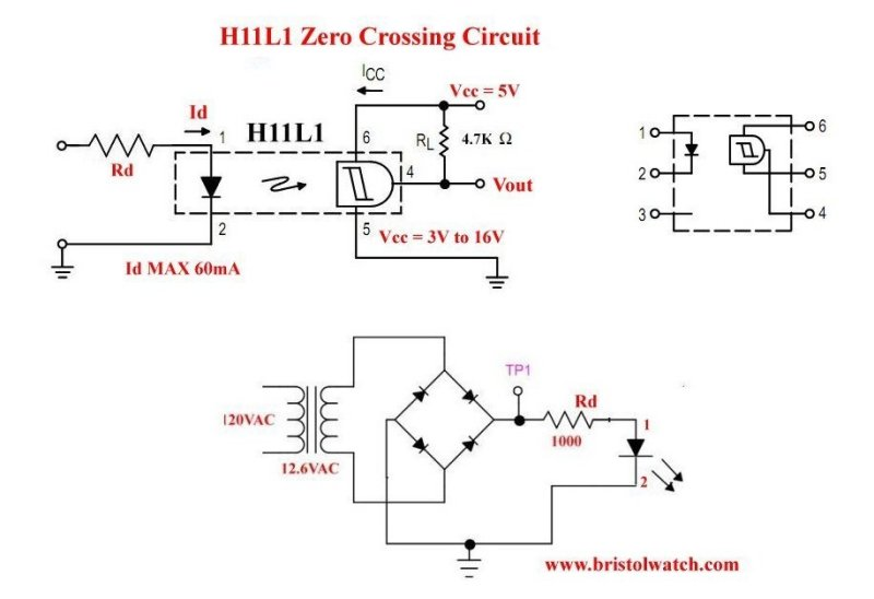 Zero AC crossing detector using a H11L1 opto-coupler.